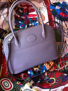 blue ostrich purse - Brand: Hermes; Style: Bolide Bag; Material: epsom calfskin leather ...