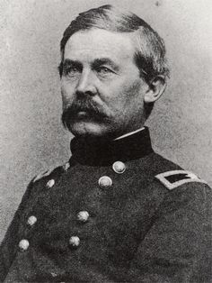Maj. Gen. John Buford (1826-1863); West Point, Class of 1848; a regular cavalry officer who commanded a division at Gettysburg. Arriving early he understood the importance of the terrain and fought delaying actions against all odds until infantry arrived, saving many hills for the Union. He died shortly afterwards on typhoid; and is recognized as one of the foremost cavalry leaders of the war.