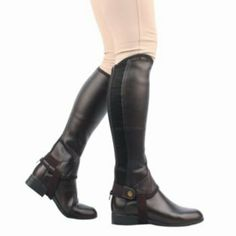 Saxon Equileather Adult Half Chaps S Black by Saxon. $31.49. Saxon(R) Equileather Adult Half Chaps Synthetic half chaps give you the traditional look of leather in an easy to care for style. Features: Synthetic equileather half chaps are soft, grippy and classic looking YKK side zip for easy on/off Match perfectly with Saxon Equileather Paddock Boots Easy to care for, just wipe clean with water Item Specifications: Material: Synthetic Suede Sizing: Width is measure...