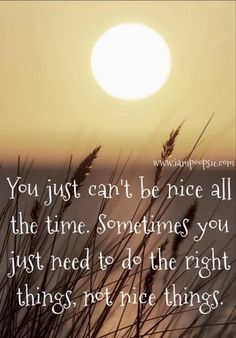 You just can't be nice all the time. Sometimes you jut need to do the right things, not nice things.