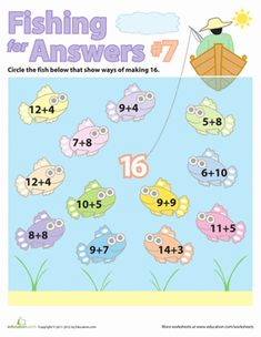 First Grade Addition Counting Worksheets: Simple Fishin' Addition