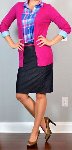 40 Outfit Posts: outfit post: pink cardigan bright plaid button downshirt denim pencil skirt brown peep-toed pumps.