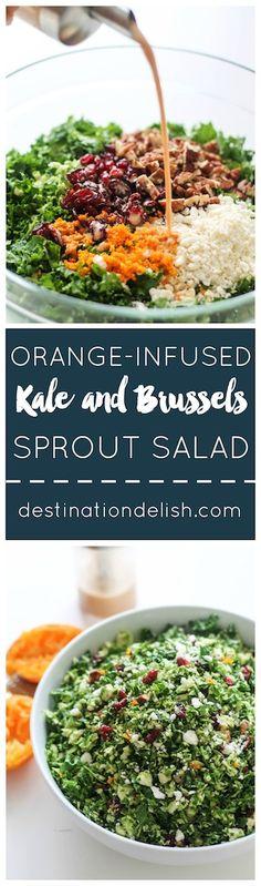 Orange-Infused Kale and Brussels Sprout Salad | Destination Delish