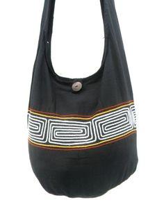 Shoulder Bag Bohemian Bag Black white Color Greek Key Bag Messenger Bag Hippie Hobo Crossbody Bag Boho Purse Sling Thai Art Gift Bag by Avivahandmade on Etsy