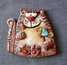 The cat with lollipop salt dough figurine wall by UnderAngelWings