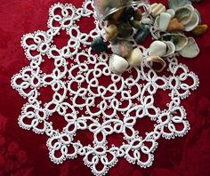 Tatting Handcrafted Round Doily.