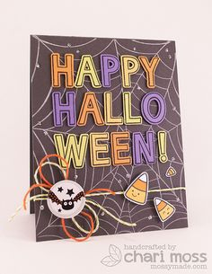 MossyMade: Happy Halloween! I used Quinn's Capitals and the Hero Arts Spider Web background to create this card.  The candy corn is from Lawn Fawn Trick or Treat mini set and Critters in Costume.  I used silver stickles and lawn trimmings twine to finish it off.