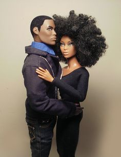 Natural hair doll with Ken.