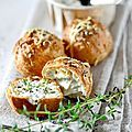 Gougères et fromage aux herbes fraîches  (cream puffs filled with savory herb cream cheese)