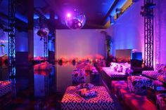 David Rodgers did the design and production for the exhibition's opening-night party, which took place on January 10 at the Wilshire May Company Building. A lounge area had a Studio 54 theme and was decked in disco balls; furniture was swathed in Diane von Furstenberg-like prints.
