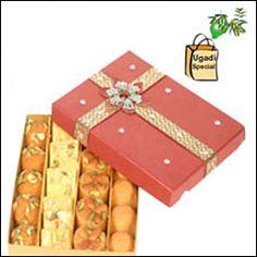 Assorted Sweets - 1kg + Special Ugadi Hamper (1 Big Green Mango + Cheruku Mukkalu + Vaepa Puvvu + Bellam Mukkalu)
