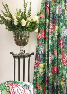 Fresh flowers an chinoiserie drapes at Parker Kennedy Living