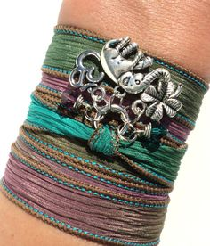 Sacred Elephant Silk Wrap Bracelet Ganesha by BohemianEarthDesigns, $30.95