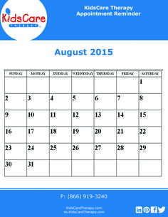 Use this August 2015 editable PDF calendar to plan out your Speech, Physical, or Occupational therapy for the month!