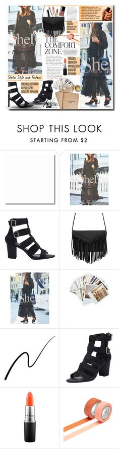 """""""SheIn Black Maxi Dress"""" by lillili25 ❤ liked on Polyvore featuring Chronicle Books, Stila, MAC Cosmetics, women's clothing, women, female, woman, misses, juniors and Sheinside"""