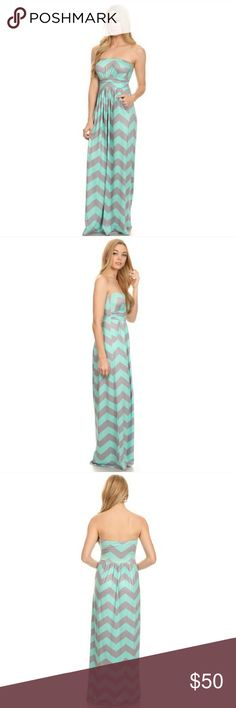 "COMING SOON- Mint/Grey Maxi Dress Chevron print slinky jersey maxi dress with side pocket. This dress is perfect for spring and summer alike. Wear to your next barbecue or outdoor affair or just wear everyday because it's that comfortable! ⭐️Price Firm⭐️  - 96% Polyester; 4% Spandex - 51"" long  Small (approx. 13.5"" bust) Medium (approx. 14.5"" bust) Large (approx. 15.5"" bust)  2S 2M 2L 11thStreetNYC Dresses Maxi"