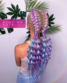 Rave Hair, Curly Hair Styles, Natural Hair Styles, Braids With Extensions, Crazy Hair Days, Cool Braids, Yarn Braids, Cool Braid Hairstyles, Festival Hair