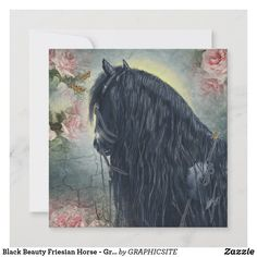Black Beauty Friesian Horse - Greeting Card
