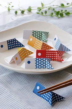 子供の日やバースデイパーティなどで喜ばれそうな、鯉のぼり型の箸置き。簡単なので、お子さんと一緒に作っても楽しそう☆