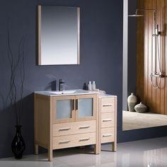 Fresca Torino 42-inch Light Oak Modern Bathroom Vanity with Side Cabinet and Undermount Sink