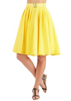 Sunny Spot Skirt. With a book in hand, you pick a prime place to soak up the sunshine, the yellow backdrop of your dotted A-line skirt as bright as the day. #yellow #modcloth
