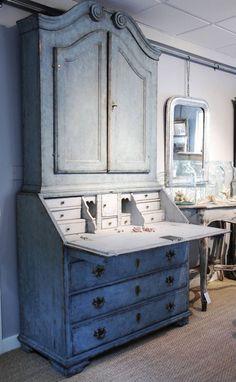 Swedish blue painted Bureau Bookcase -c. 1770