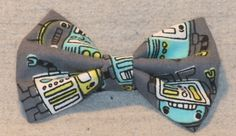 Vintage Style Robots Hair bow by TheRubyPigdotcom on Etsy