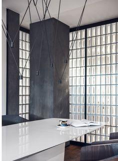 Dinningroom, Vibia lamp and glass bricks - designed by studio Potorska