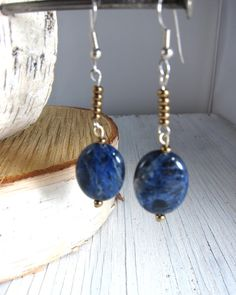 Blue Sodalite Dangle Earrings by SusanHeleneDesigns on Etsy, $22.00