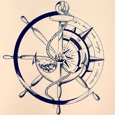 65 amazing compass tattoo designs and ideas Kunst Tattoos, Neue Tattoos, Tattoos Skull, Body Art Tattoos, Tatoos, Turtle Tattoos, Anchor Compass Tattoo, Compass Tattoo Design, Anchor Tattoo Design