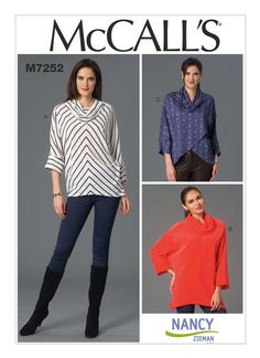 McCall's Nancy Zieman Misses' Cowl-Neck Tops pattern for very loose-fitting, pullover tops with cowl collar, dolman sleeves and cuffs with reverse construction. Tunic Sewing Patterns, Mccalls Patterns, Knit Patterns, Clothing Patterns, Sewing With Nancy, Love Sewing, Nancy Zieman, Sewing Hacks, Sewing Tips