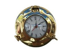 Brass Deluxe Class Porthole Clock 8""""