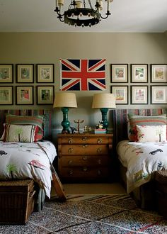 Bedroom with British influence.  great boys room