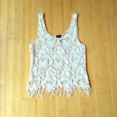 Lace weaved tank top Great shirt for summer and layering! Unique lace detailing adds flare! Rue 21 Tops Tank Tops