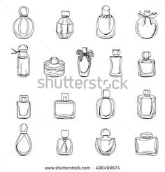 Bottles of perfume isolated on white. Black and white contour objects Bottiglie di profumo isolate su bianco. Small Tattoo Designs, Small Tattoos, Colouring Pages, Coloring Books, Harry Potter Potion Labels, Bottle Drawing, Bullet Journal Art, Bottle Design, Watercolor And Ink