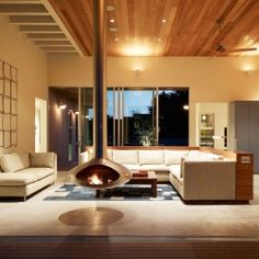LOVE THE FIREPLACE! Seadrift Residence by CCS Architecture.