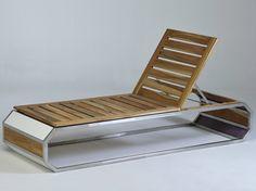 Espreguiçadeira de jardim empilhável em aço inox e madeira TRAK Coleção LG by Lgtek Outdoor | design Michele Villa