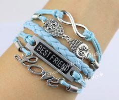 infinity bracelet owl  bracelet best friends  bracelet by vividiy, $5.99