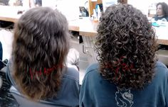 Before and after spiral perm Curly Perm, Curly Hair Cuts, Wavy Hair, Curly Hair Styles, Short Permed Hair Before And After, Perms Before And After, Medium Permed Hairstyles, Modern Hairstyles, Perm Hairstyles