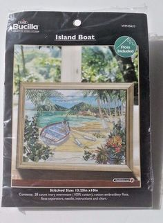 Island Boat Beach Plaid Bucilla Counted Cross Stitch Kit Paul Brent WM45633 New #Plaid #Frame