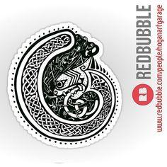 'Celtic Twist' Sticker by Alan Hogan Irish Symbols, Insta Bio, Red Bubble Stickers, Irish Art, Celtic Designs, Celtic Knot, White Ink, Sticker Design, Folklore