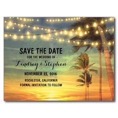 Beach sunset/ Destination Wedding save the date postcards! #DestinationWedding