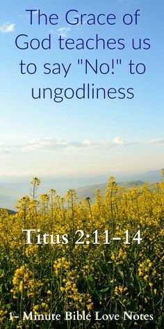 "Titus 2:11-14: God's Grace Teaches Us to Say ""No!"" to Ungodliness. Did you know this is a promise in Scripture? This 1-minute devotion explains."