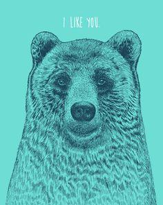 Poster | I LIKE YOU (BEAR) von Rachel Caldwell