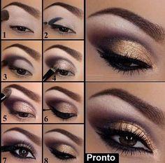 maquiagem dourada, make up gold | from blog crisrezende.com #maquiagem #dourada #olhos #make up #gold #eyes