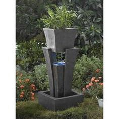 Jeco - Raining Water Fountain With Planter With Led Light - Default Title - Water Gardening - Yard Outlet