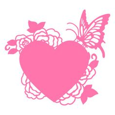 Silhouette Design Store: butterfly rose flowers heart