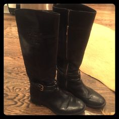 Tory Burch riding boots Barely worn black leather riding boots with gold buckle and zipper Tory Burch Shoes