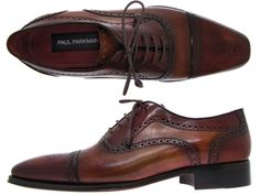 Paul Parkman Men's Captoe Oxfords Camel & Red Hand-Painted Leather Upper and Leather Sole
