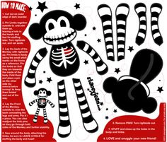 YARD SIZE - Macabre the Skeleton Monkey Doll fabric by staceyjean on #Spoonflower - custom fabric